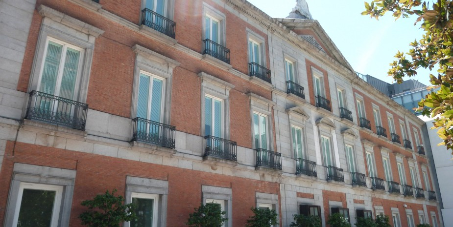 North facade of Thyssen-Bornemisza Museum in Madrid (Spain). Building from 1806.